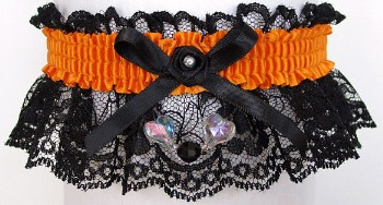 Neon Orange Garter with Aurora Borealis Hearts on Black Lace for Wedding Bridal Prom