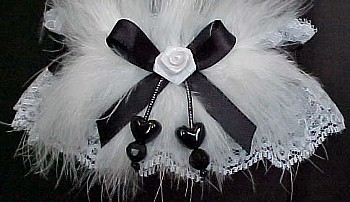 White and Black Garter with Double Hearts and Marabou Feathers for Wedding Bridal or Prom.