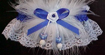 Double Hearts Garter w/ Colored Band or Trim & Marabou Feathers on White Lace for Wedding Bridal or Prom