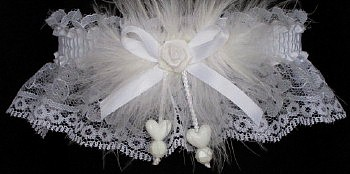 Keepsake Wedding Garter with Double Hearts..