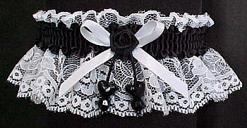 White and Black Garters with Double Hearts for Wedding Bridal or Prom.