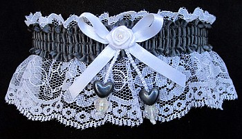 Pewter Double Hearts Garter on White Lace for Wedding Bridal Prom
