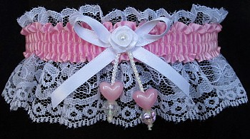 Wild Orchid Double Hearts Garter on White Lace for Wedding Bridal Prom