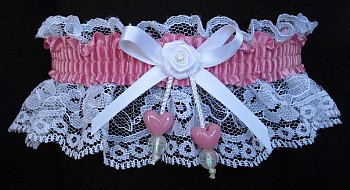Wild Rose Double Hearts Garter on White Lace for Wedding Bridal Prom Valentine