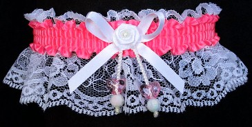 Neon Pink Garter with AB Double Hearts on White Lace for Wedding Bridal Prom