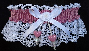 Rosy Mauve Double Hearts Garter on White Lace for Wedding Bridal Prom