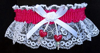 Azalea Double Hearts Garter on White Lace for Wedding Bridal Prom
