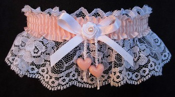 Moonstone Double Hearts Garter on White Lace for Wedding Bridal Prom