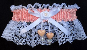 Coral Ice Double Hearts Garter on White Lace for Wedding Bridal Prom