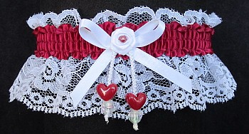 Wine Double Hearts Garter on White Lace for Wedding Bridal Prom