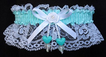 Aqua Double Hearts Garter on White Lace for Wedding Bridal Prom