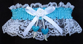Misty Turquoise Double Hearts Garter on White Lace for Wedding Bridal Prom