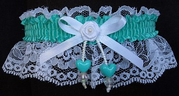 Tropic Double Hearts Garter on White Lace for Wedding Bridal Prom