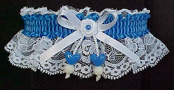 Aegean Blue Double Hearts Garter on White Lace for Wedding Bridal Prom