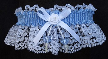 Bluebird Double Hearts Garter on White Lace for Wedding Bridal Prom