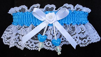 Turquoise Double Hearts Garter on White Lace for Wedding Bridal Prom
