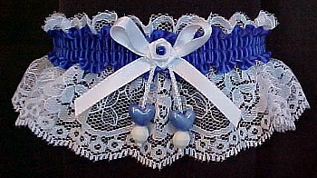 Royal Blue Double Hearts Garter on White Lace for Wedding Bridal Prom