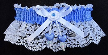 True Blue Double Hearts Garter on White Lace for Wedding Bridal Prom