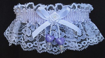 Lilac Mist Double Hearts Garter on White Lace for Wedding Bridal Prom