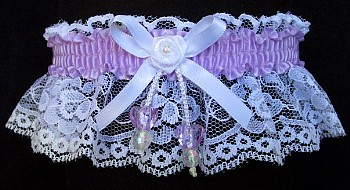 Lt Orchid Double Hearts Garter on White Lace for Wedding Bridal Prom