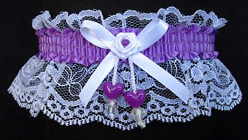 Grrape Double Hearts Garter on White Lace for Wedding Bridal Prom