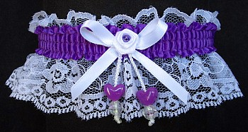 Purple Double Hearts Garter on White Lace for Wedding Bridal Prom