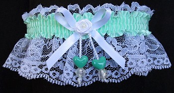 Pastel Green Double Hearts Garter on White Lace for Wedding Bridal Prom