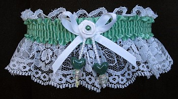 Celedon Green Double Hearts Garter on White Lace for Wedding Bridal Prom