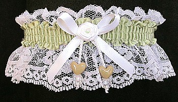 Soft Pine Green Double Hearts Garter on White Lace for Wedding Bridal Prom