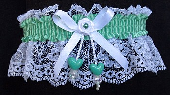 Sage Green Double Hearts Garter on White Lace for Wedding Bridal Prom