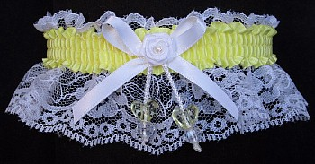 Baby Maize Yellow Double Hearts Garter on White Lace for Wedding Bridal Prom