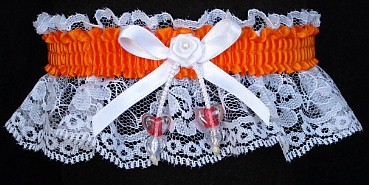 Neon Orange Garter with AB Double Hearts on White Lace for Wedding Bridal Prom