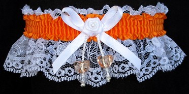 Neon Orange Garter with AB Dbl Hearts on White Lace for Wedding Bridal Prom