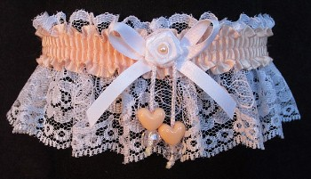 Petal Peach Double Hearts Garter on White Lace for Wedding Bridal Prom