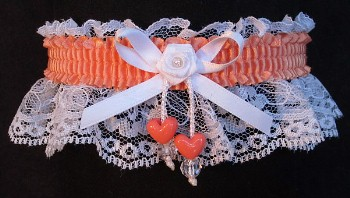 Peach Double Hearts Garter on White Lace for Wedding Bridal Prom