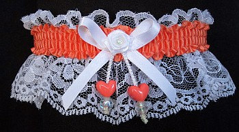 Cantaloupe Double Hearts Garter on White Lace for Wedding Bridal Prom