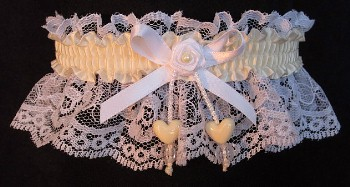 Ivory Double Hearts Garter on White Lace for Wedding Bridal Prom