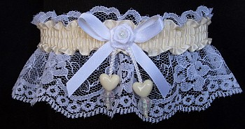Cream Double Hearts Garter on White Lace for Wedding Bridal Prom
