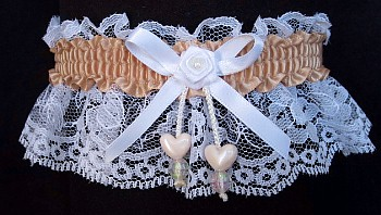 Tan Double Hearts Garter on White Lace for Wedding Bridal Prom