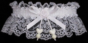 Toss Bridal Garter with Double Hearts.