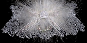 White Lace Wedding Bridal Garter with Crystal Aurora Borealis Faceted Beads & Marabou feathers. garders, garder