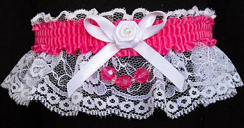 Hot Pink Faceted Beads Garter on White Lace for Homecoming