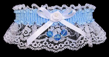 Lt Blue Garter on White Lace for Wedding Bridal Prom with Faceted Beads