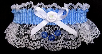 Blue Mist Garter on White Lace for Wedding Bridal Prom with Faceted Beads