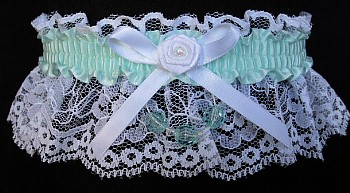 Crystalline Blue Green Garter on White Lace for Wedding Bridal Prom with Faceted Beads