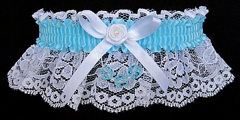 Ocean Blue Garter on White Lace for Wedding Bridal Prom with Faceted Beads