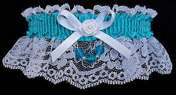 Tornado Blue Garter on White Lace for Wedding Bridal Prom with Faceted Beads
