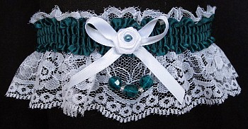 Dark Teal Blue Garter on White Lace for Wedding Bridal Prom with Faceted Beads
