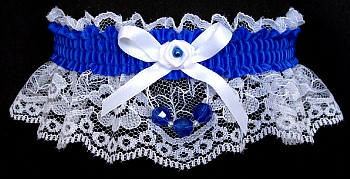Electric Blue Neon Garter on White Lace for Wedding Bridal Prom with Faceted Beads