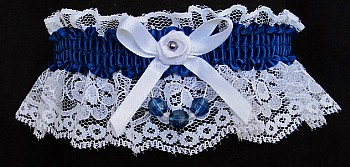 Lt Navy Blue Garter on White Lace for Wedding Bridal Prom with Faceted Beads